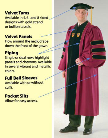 ... (phd gowns, doctoral robes, academic hoods, velvet tams, etc