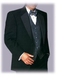 formal wear (formalwear) single breasted tuxedo coat, vest, bowtie, tux shirt and tux pants